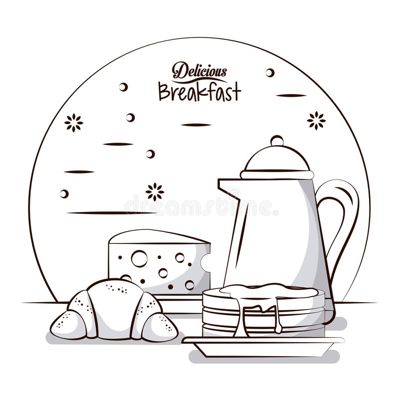 Delicious breakfast food stock illustration