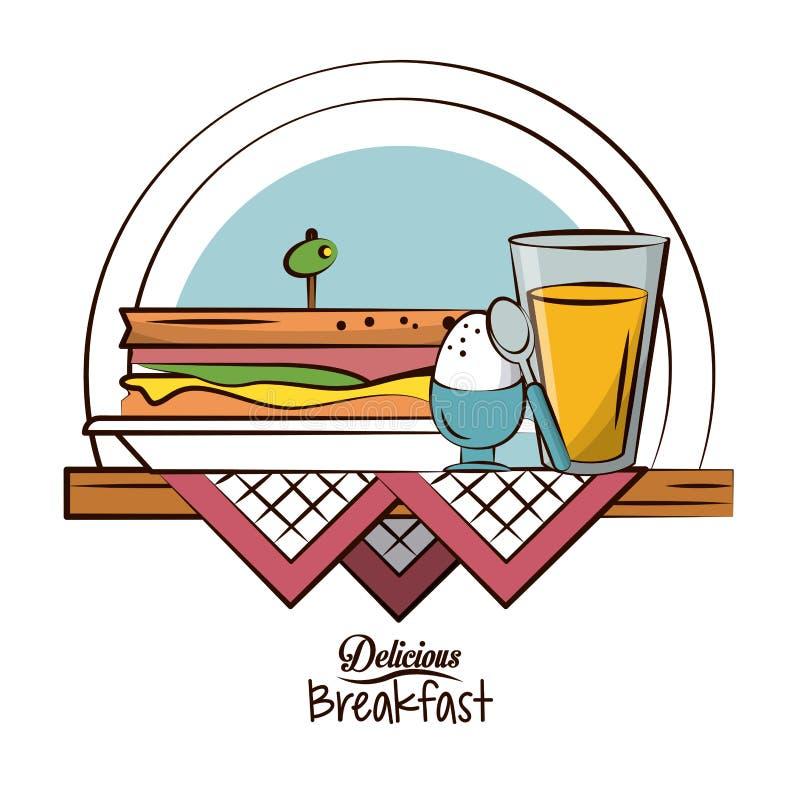 Delicious breakfast food royalty free illustration