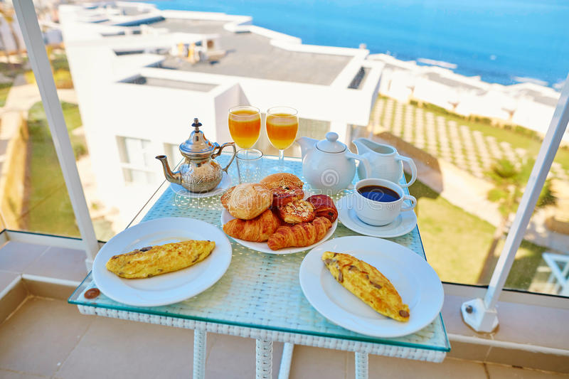 Delicious breakfast with sea view stock image