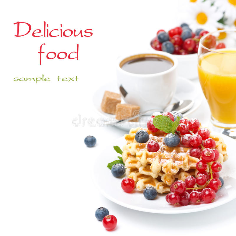 Free Delicious Breakfast With Waffles, Berries, Orange Juice Royalty Free Stock Photo - 35619075