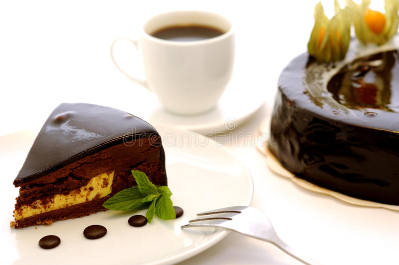 Delicious brown chocolate cake. stock photo