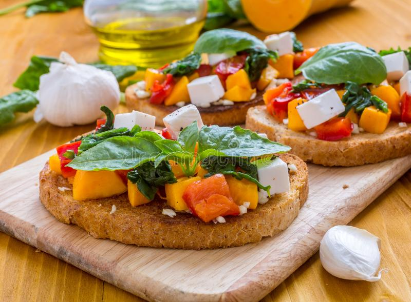 Delicious and Healthy Bruschettas Close-up stock photography