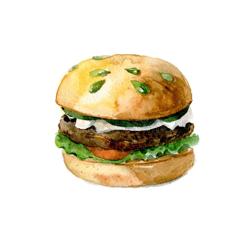 Delicious Burger with beef, tomato and lettuce on a bun with pumpkin seeds. Watercolor illustration isolated on white. Watercolor Burger with cheese, tomato and stock photo