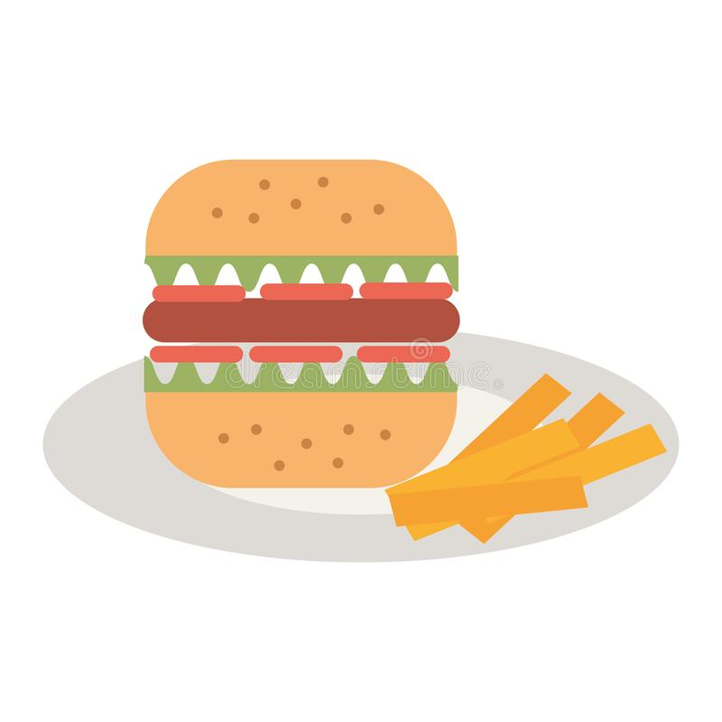 Delicious burger in dish with french fries royalty free illustration