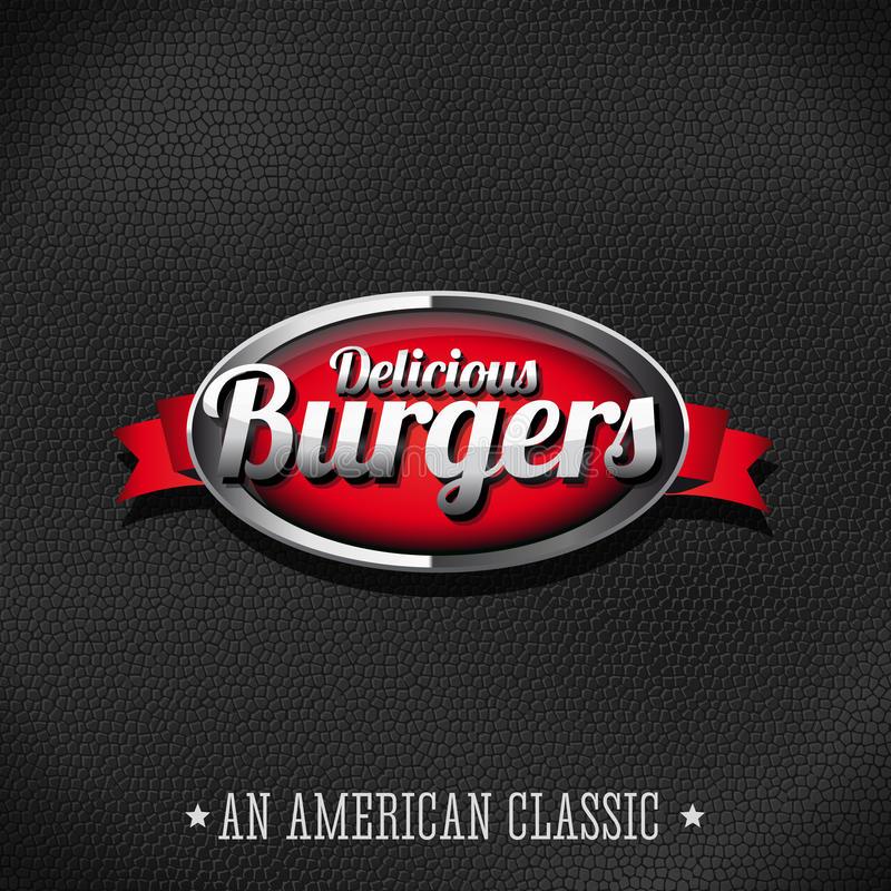 Delicious burgers button on leather background vector illustration