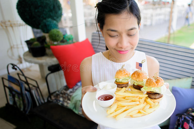 Delicious burgers stock image