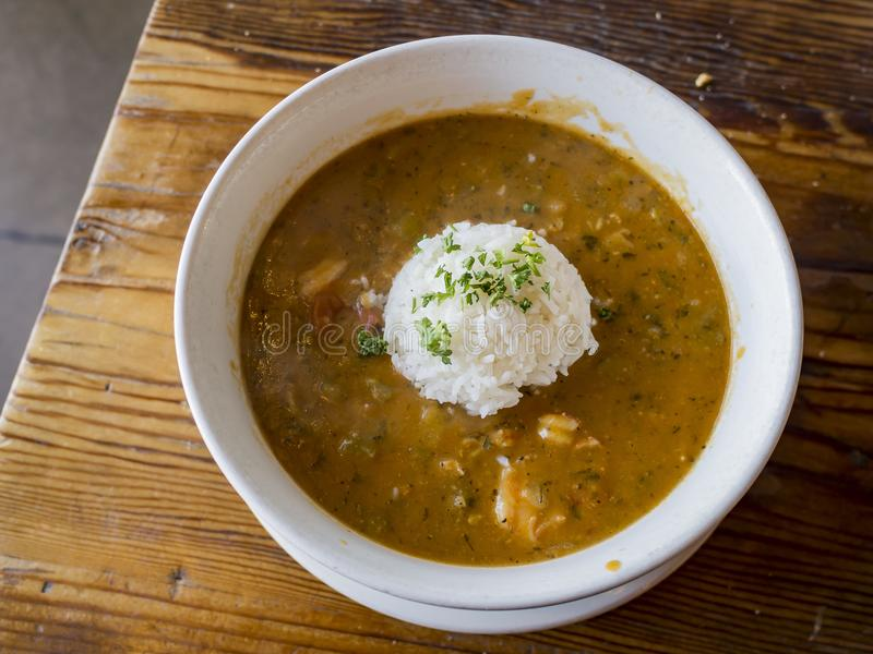 Delicious Cajun style gumbo seafood rice royalty free stock photography