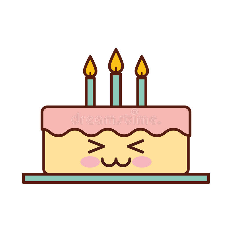 Delicious Cake Brithday With Candles Kawaii Character Stock Vector
