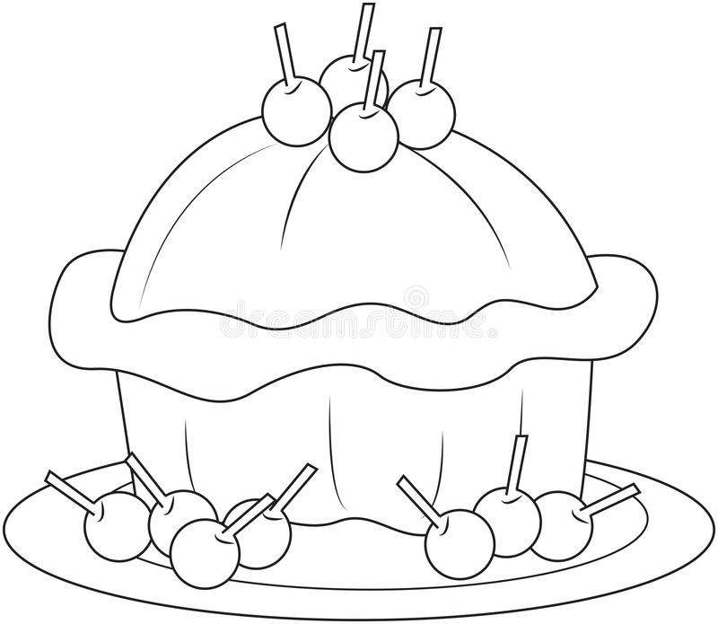 Delicious cake. With cherry toppings royalty free illustration