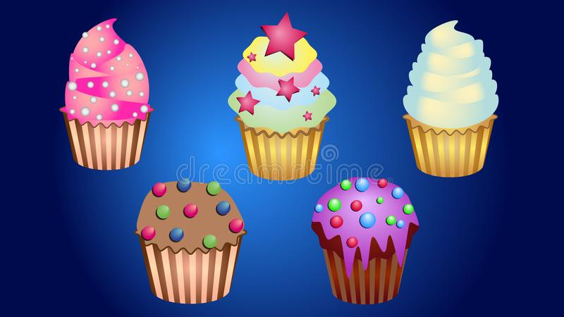 Delicious cake with cream and sweets stock illustration