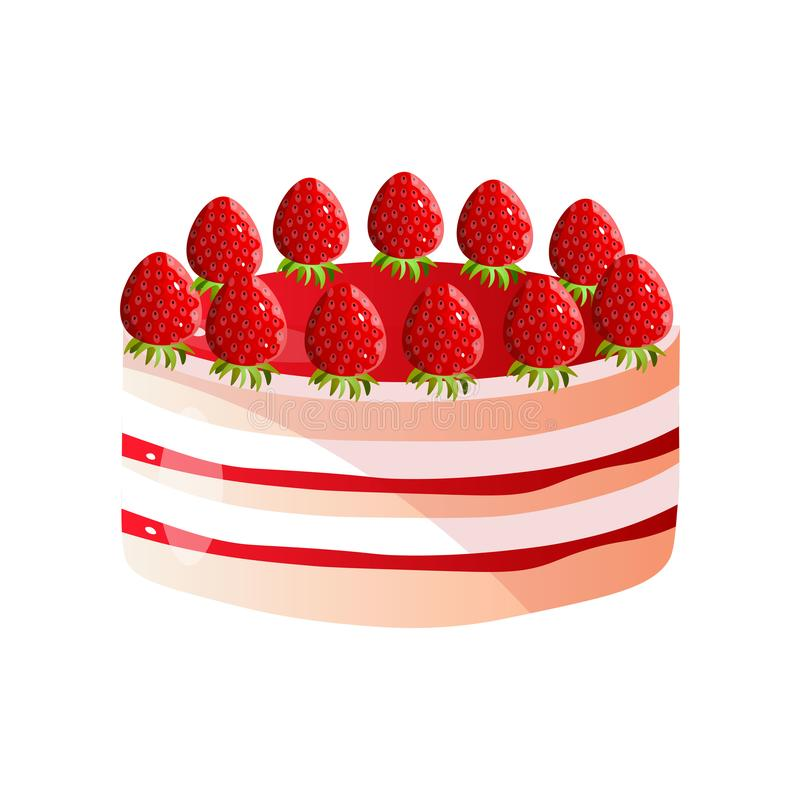 Delicious Cake with Fresh Strawberries and Chocolate, Sweet Tasty Dessert Vector Illustration vector illustration