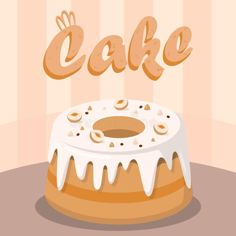 Delicious Cake with Nuts Flat Social media Banner. Tasty Dessert Illustration with Lettering. Delicious Pudding Cartoon Drawing. Confectionery, Pastry Shop royalty free illustration