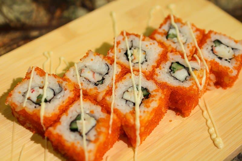 Delicious California maki sushi rolls stock photo