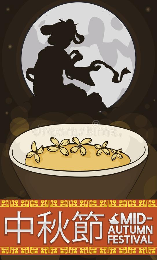 Delicious Cassia Wine and Moon Goddess Silhouette for Mid-Autumn Festival, Vector Illustration. Delicious cassia wine served in a cup, a full moon view with the royalty free illustration