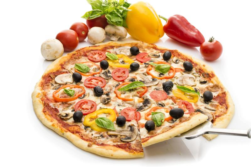 Delicious italian pizzas lifted slice 1 Isolated on white background. Pizza with ham, pepper and olives royalty free stock photos
