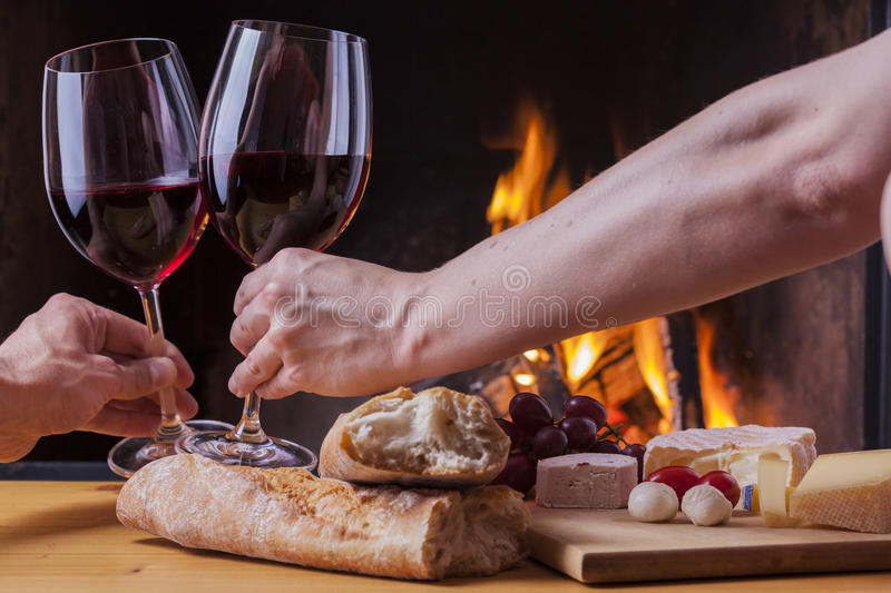 Download Delicious Cheese And Wine At The Fireplace Stock Photo - Image: 33769828