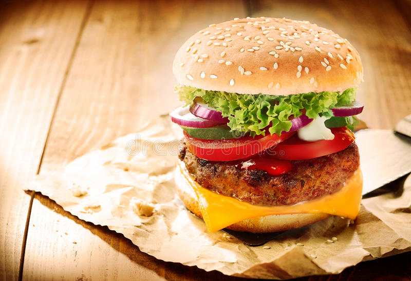 Download Delicious cheeseburger stock photo. Image of fast, cheddar - 28874034