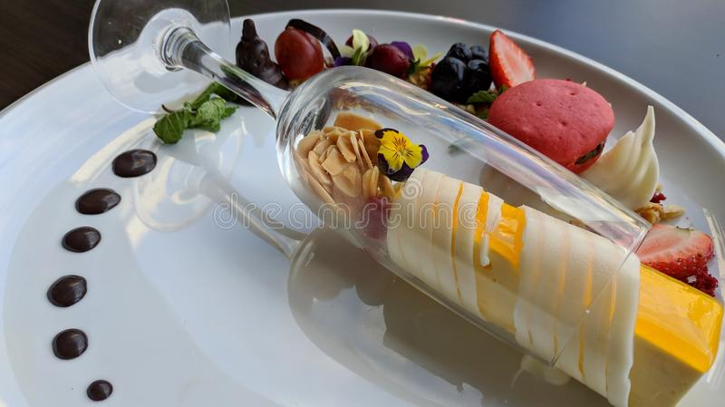 Delicious Cheesecake Served With Variant Of Fruit On White Plate