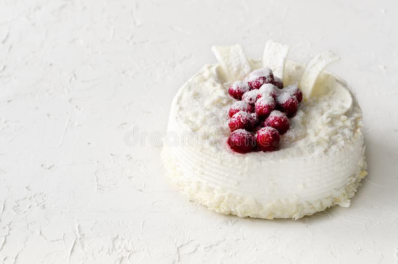Delicious cheesecakes with cranberries, cherries, coconut flakes and white chocolate on light concrete background. Copyspace royalty free stock photography