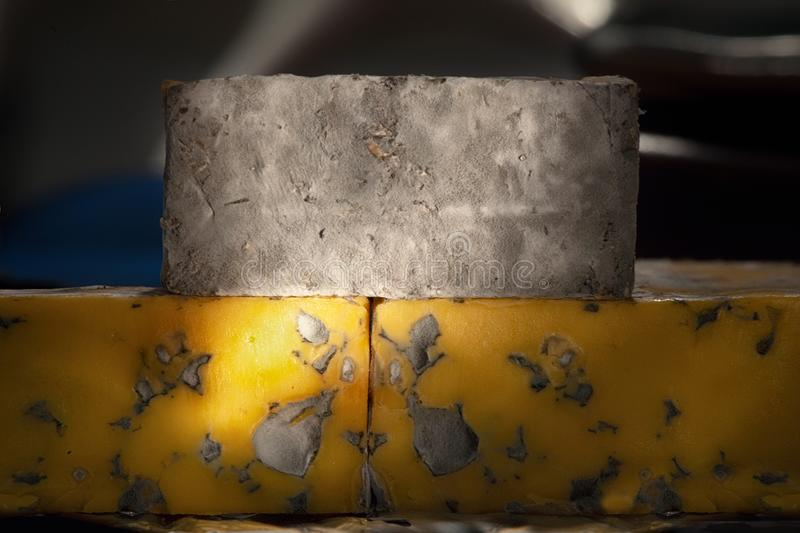 Delicious cheeses with blue cheese Close-up detailed shot.  stock photography