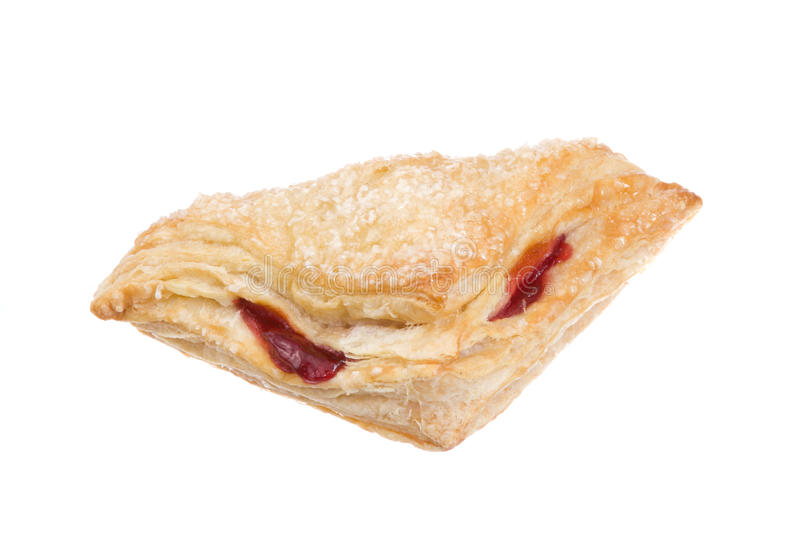 Delicious Cherry Pastry on a White Background. Delicious Cherry Turnover Pastry Isolated on a White Background royalty free stock photography