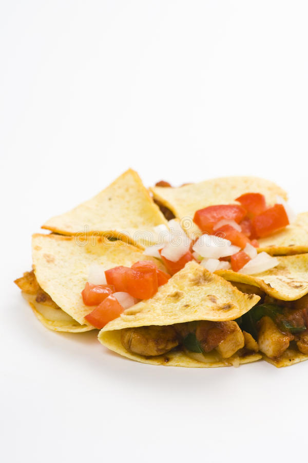 Delicious chicken quesadilla and fresh vegetables royalty free stock photography