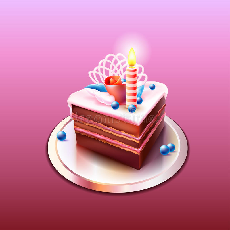 Download Delicious Chocolate Cake With A Candle Stock Illustration - Illustration of banner, black: 39504386