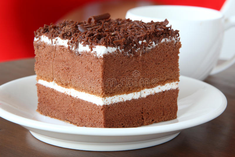 Delicious chocolate cake with cream on it stock image