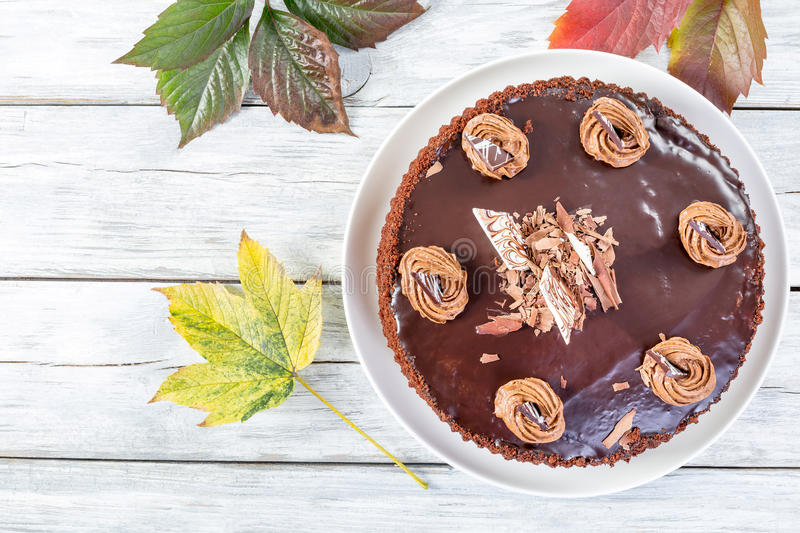 Delicious chocolate cake, view from above.  stock image