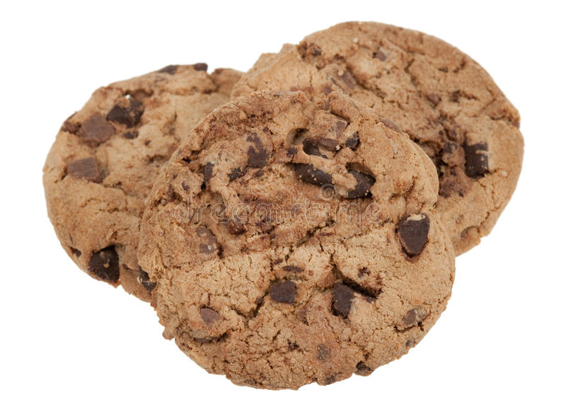 Delicious chocolate chip cookies. Isolated on a white background royalty free stock image