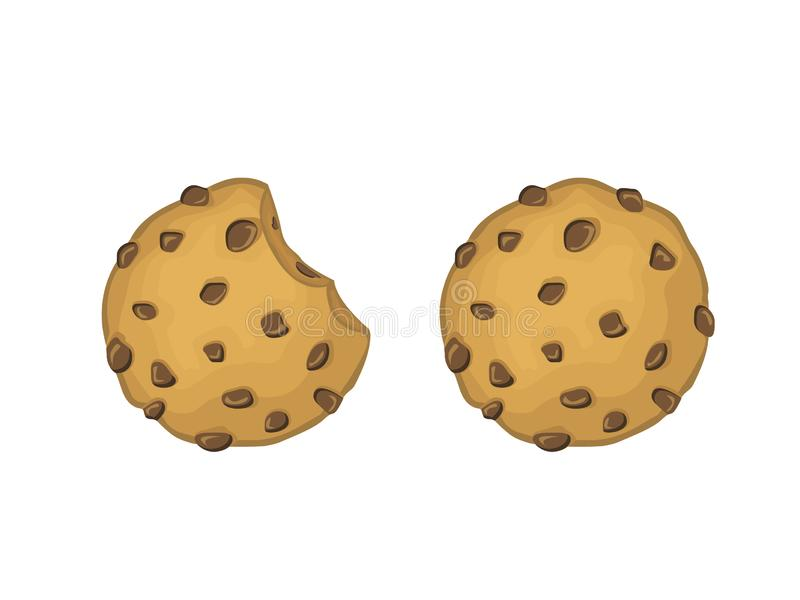 Chocolate Chips Cookies Vector Illustration. Delicious Chocolate Chips Cookies vector full and bitten illustration. flat cartoon style vector illustration