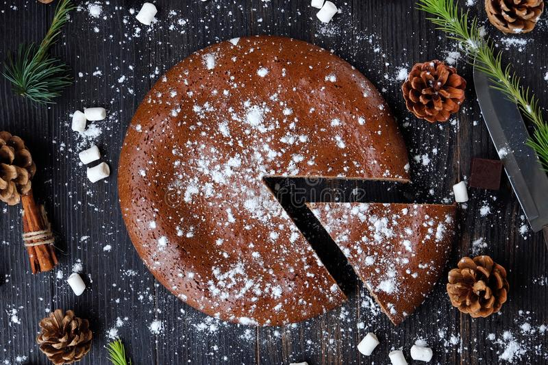 Delicious chocolate Christmas cake with powdered sugar royalty free stock photography