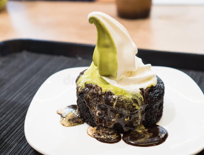 Choclate cake with green tea vanilla ice cream royalty free stock photo