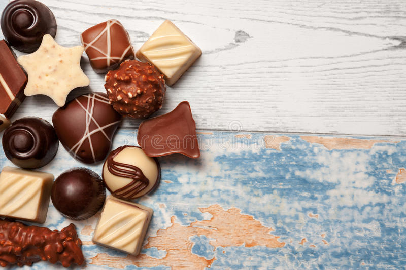Delicious chocolate pralines royalty free stock images