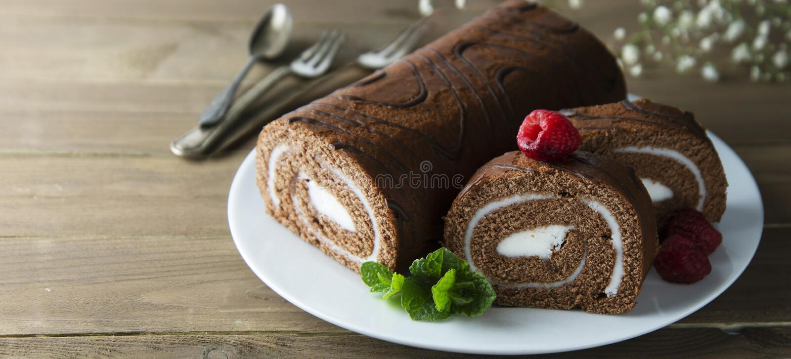 Delicious chocolate roll sponge cake with vanilla cream and mint leaves. Desert sweet food. Banner stock images
