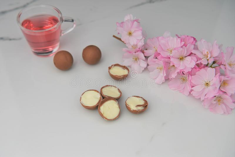 Delicious chocolate truffles and flowers royalty free stock photo