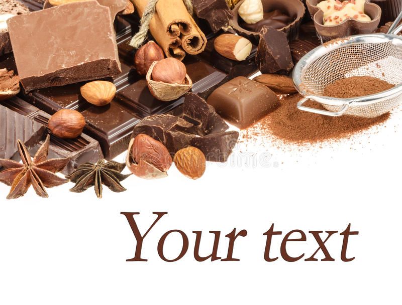 Delicious chocolates isolated on white background royalty free stock images