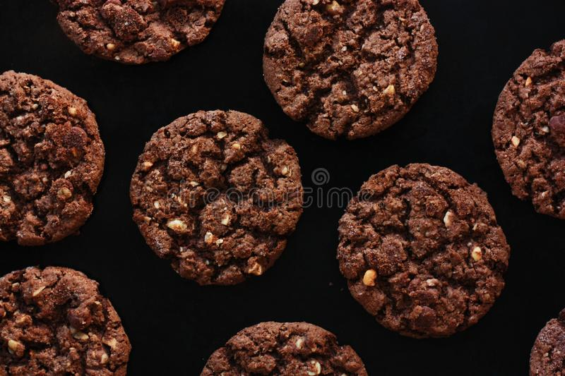 Delicious Christmas chocolate cookies with nuts for Breakfast royalty free stock photo