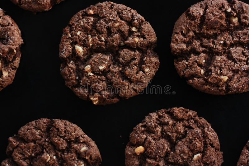 Delicious Christmas chocolate cookies with nuts for Breakfast stock image
