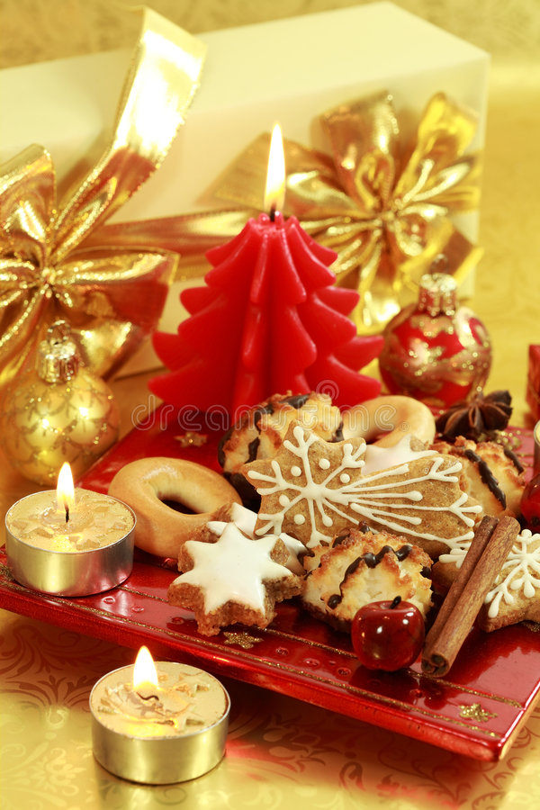 Delicious Christmas cookies stock photos