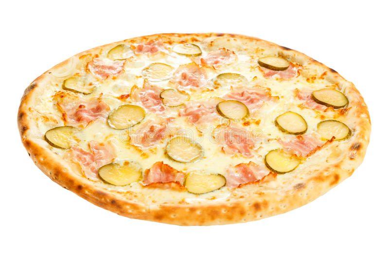 Delicious classic italian pizza with ham, sausages, corn, cucumbers and cheese royalty free stock photography
