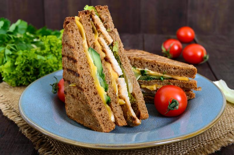 Delicious club-sandwich with rye bread, chicken, cheese, cucumbers, greens. On a dark wooden background stock photography