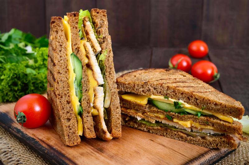 Delicious club-sandwich with rye bread, chicken, cheese, cucumbers, greens. On a dark wooden background stock image