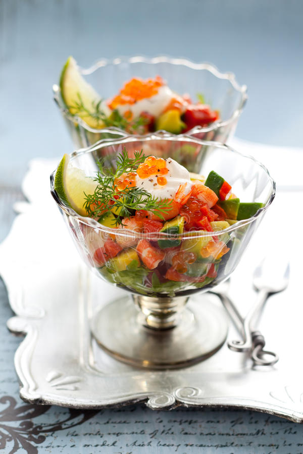 Delicious cocktail salad royalty free stock image