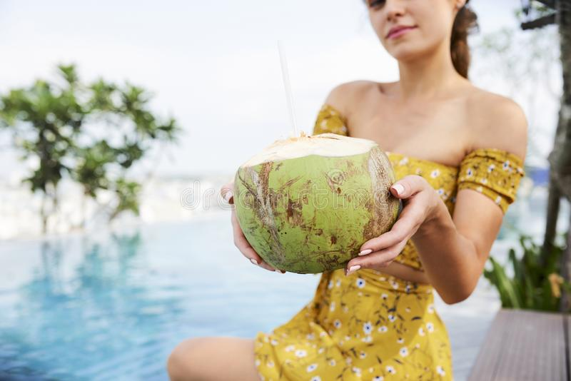 Delicious coconut cocktail royalty free stock photo