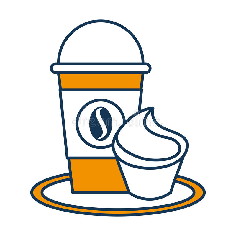 Delicious coffee with cupcake royalty free illustration