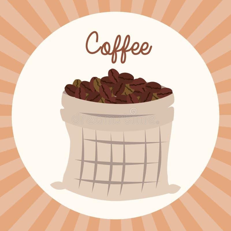 Delicious coffee grains in sack. Vector illustration design stock illustration