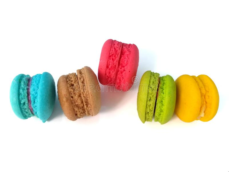 Delicious colorful macaron, arrange beautiful, one piece higher royalty free stock image