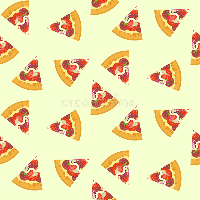 Delicious colorful sliced pizza with salami, mushrooms, tomato seamless pattern royalty free illustration