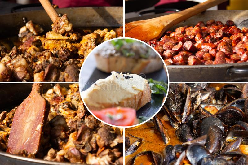 Food collage. Delicious cooked food collage with European cuisine closeup on a dining table royalty free stock image